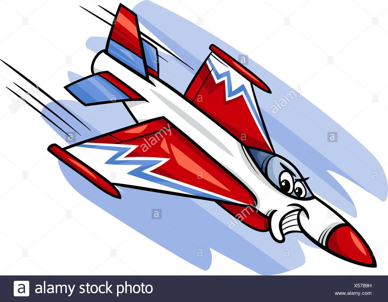 jet fighter plane cartoon illustration - Stock Image