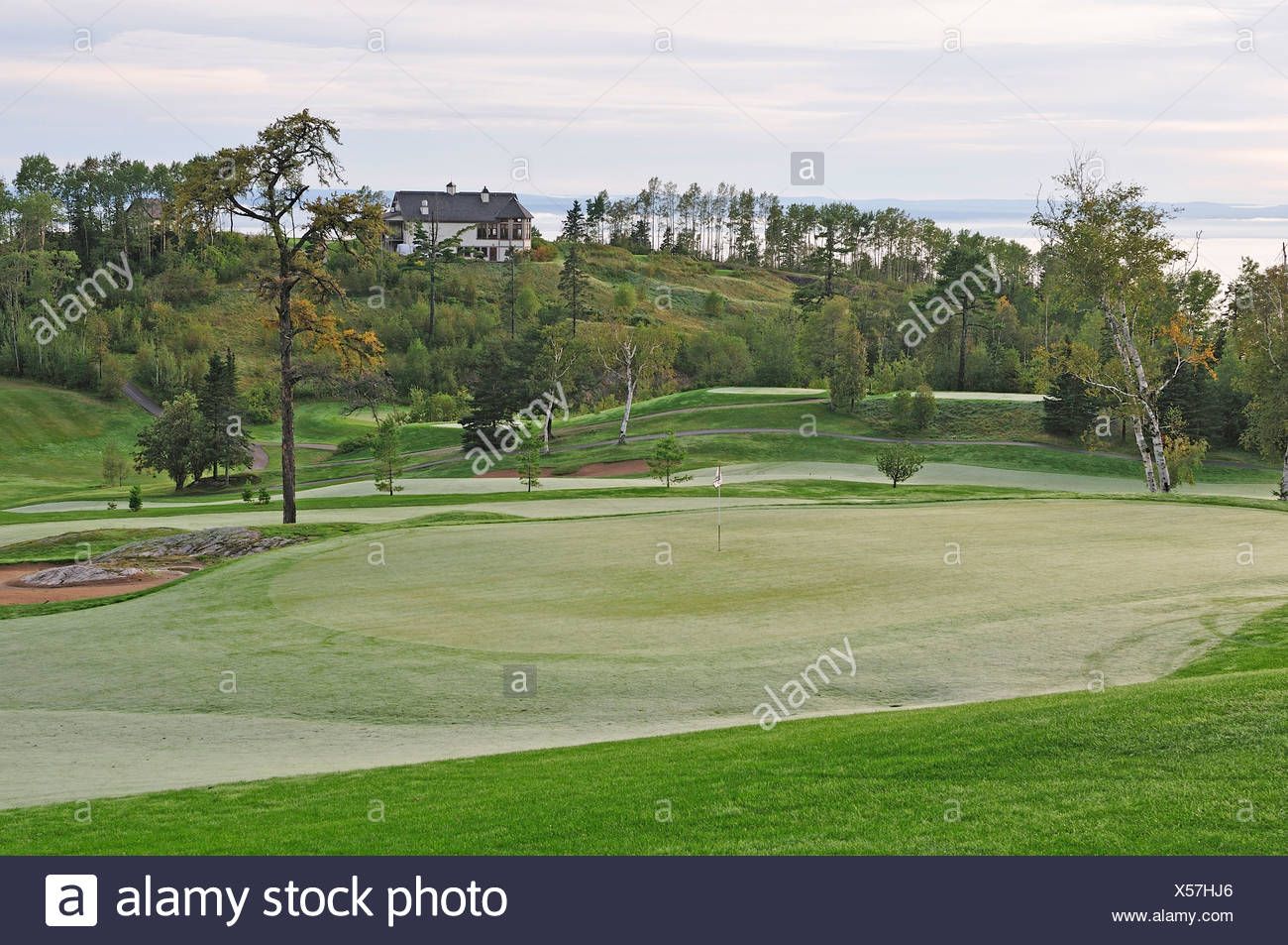 Golf course, Malbaie, Quebec, Canada, golf, green, - Stock Image