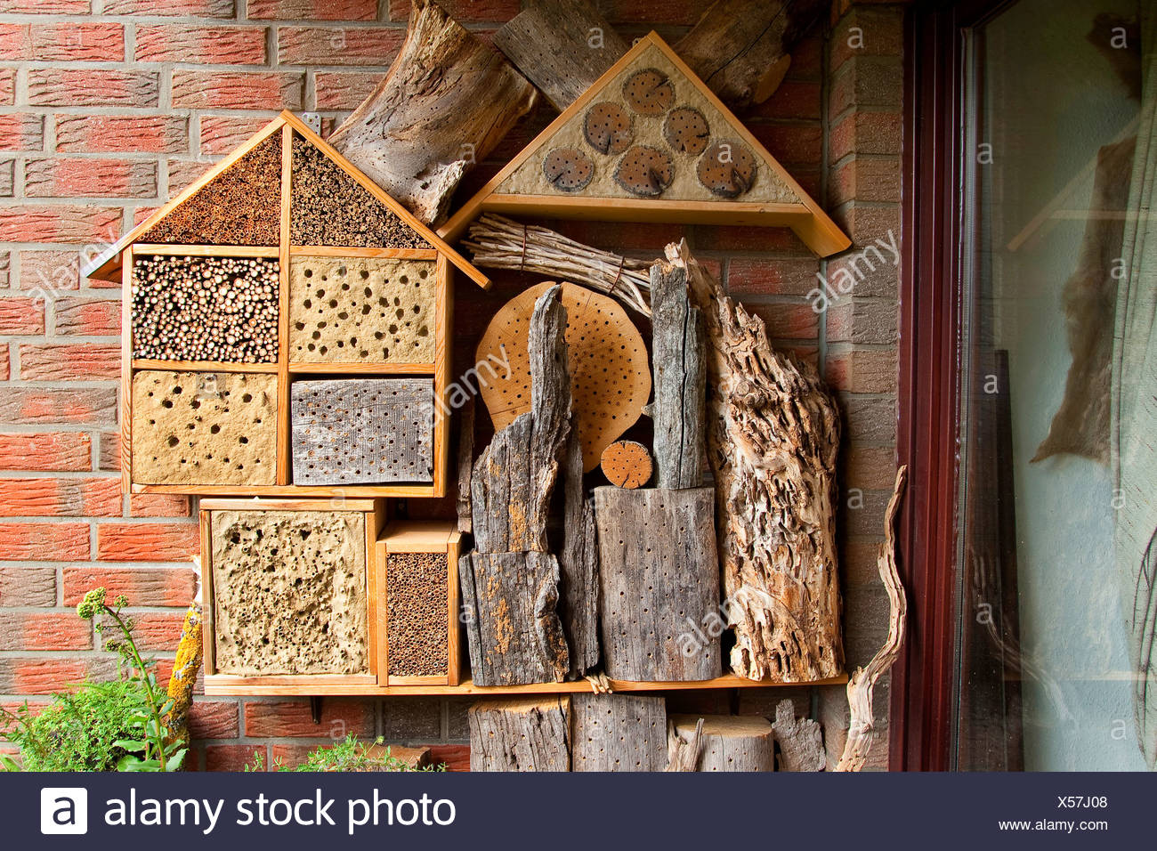 insect hotel on a balcony, Germany - Stock Image