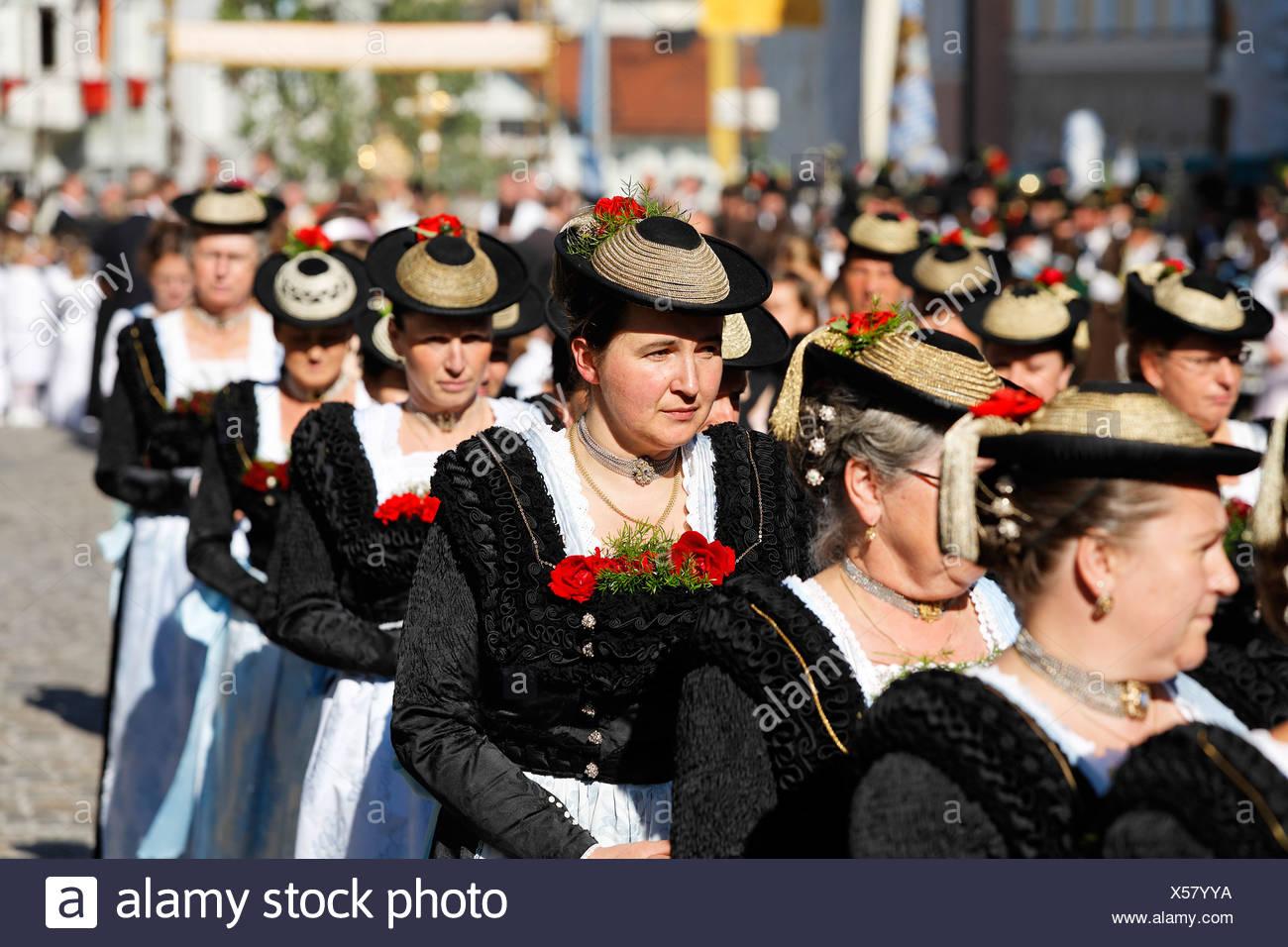 Feast of Corpus Christi procession in Bad Toelz, Upper Bavaria Germany - Stock Image