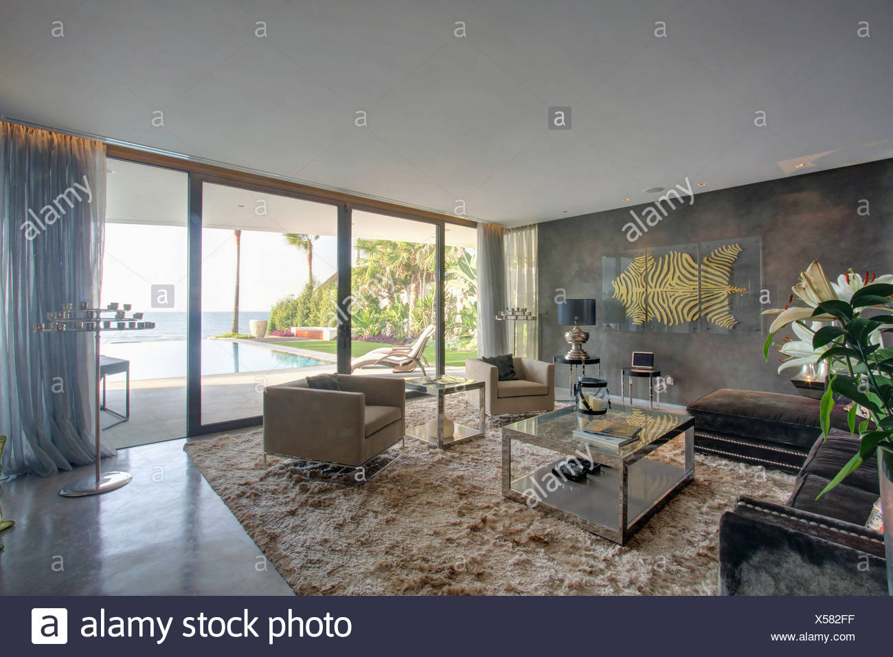 Glass Coffee Table And Suede Armchairs On Shag Pile Rug In In Modern