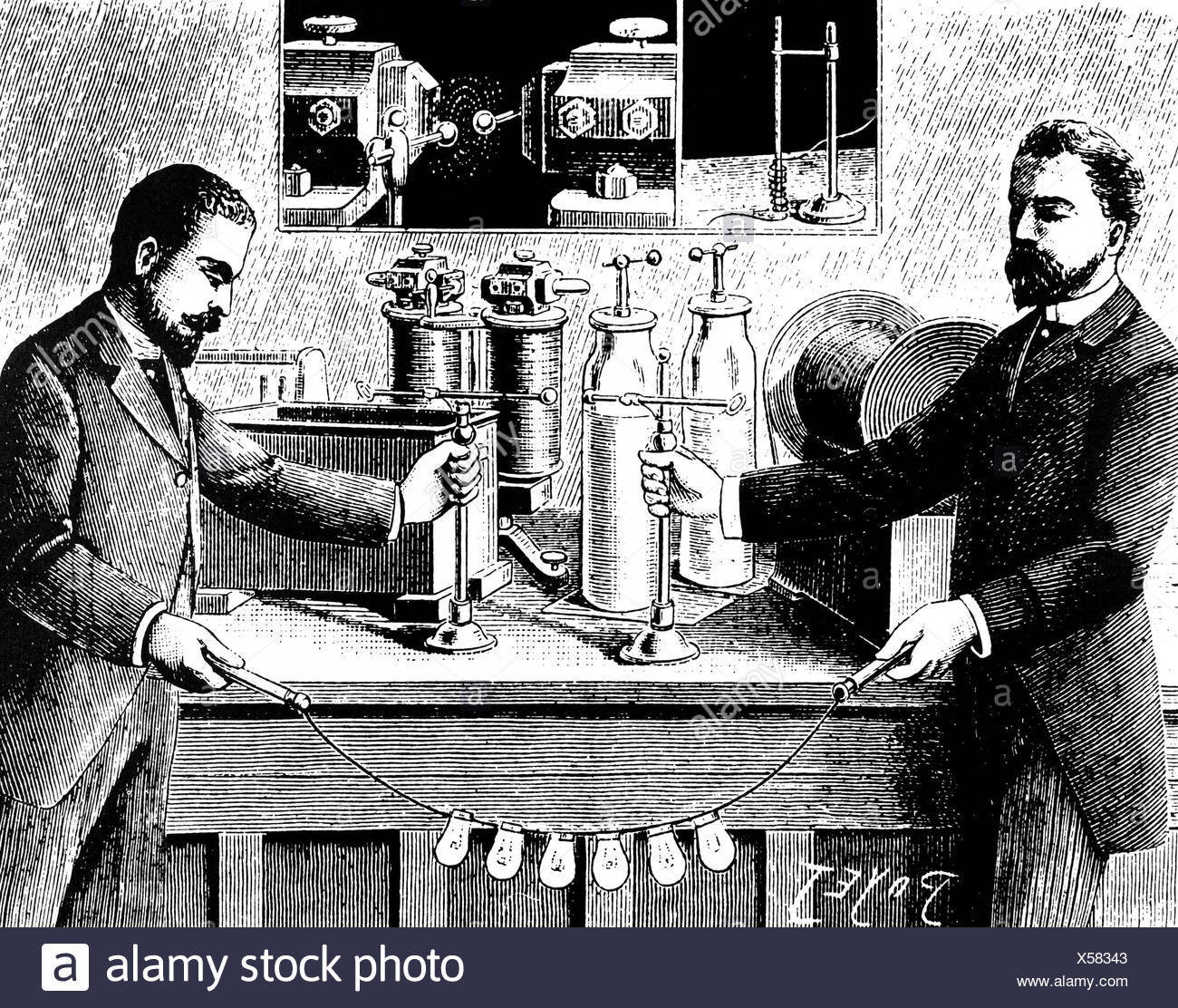 Tesla s Experiments with Alternating High Voltage Currents, 1894 - Stock Image