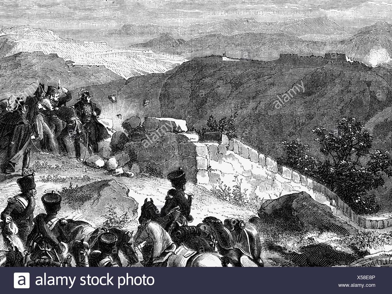 Masséna, André, 6.5.1756 - 14.4.1817, French general, before the Lines of torres Vedras, 1810, wood engraving, 19th century, , Additional-Rights-Clearances-NA - Stock Image
