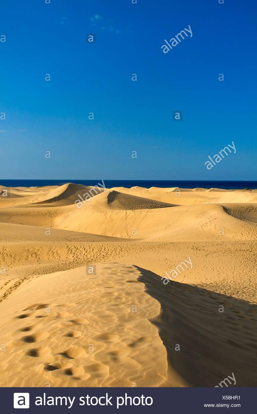 Sand dunes of Maspalomas, Gran Canaria, Canary Islands, Spain - Stock Image