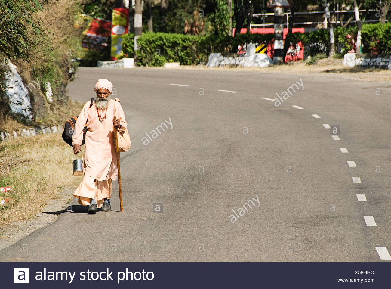 An ascetic on the highway - Stock Image