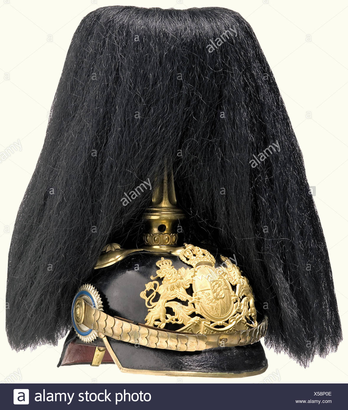 A model 1886/97 officer's helmet, Bavaria, Logistic Units Black lacquered leather skull. Frosted, gold-plated coat of arms plate. Cambered metal chinscales. Bavarian and imperial cockades. Brown ribbed silk lining. Black, bushy falling plume of buffalo hair on a fluted, gold-plated cone. Rare headgear, as all three Bavarian logistic battalions together only had 50 active officers. historic, historical, 19th century, Bavaria, Bavarian, German, Germany, Southern Germany, the South of Germany, object, objects, stills, militaria, clipping, cut out, cut-out, cut-out, Additional-Rights-Clearances-NA - Stock Image