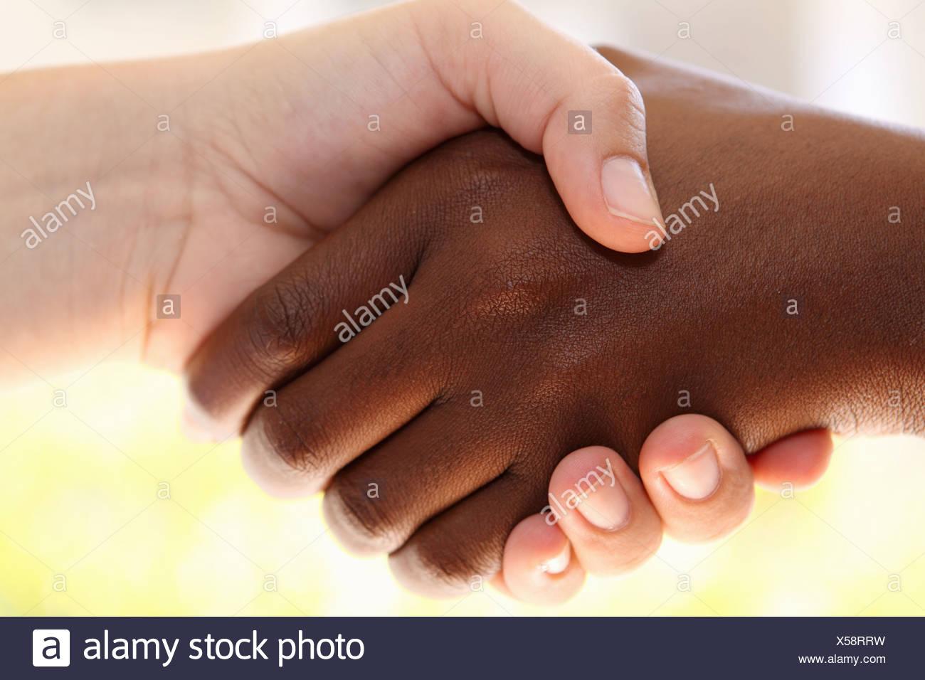 Close up of hand shake, Johannesburg, South Africa Stock Photo