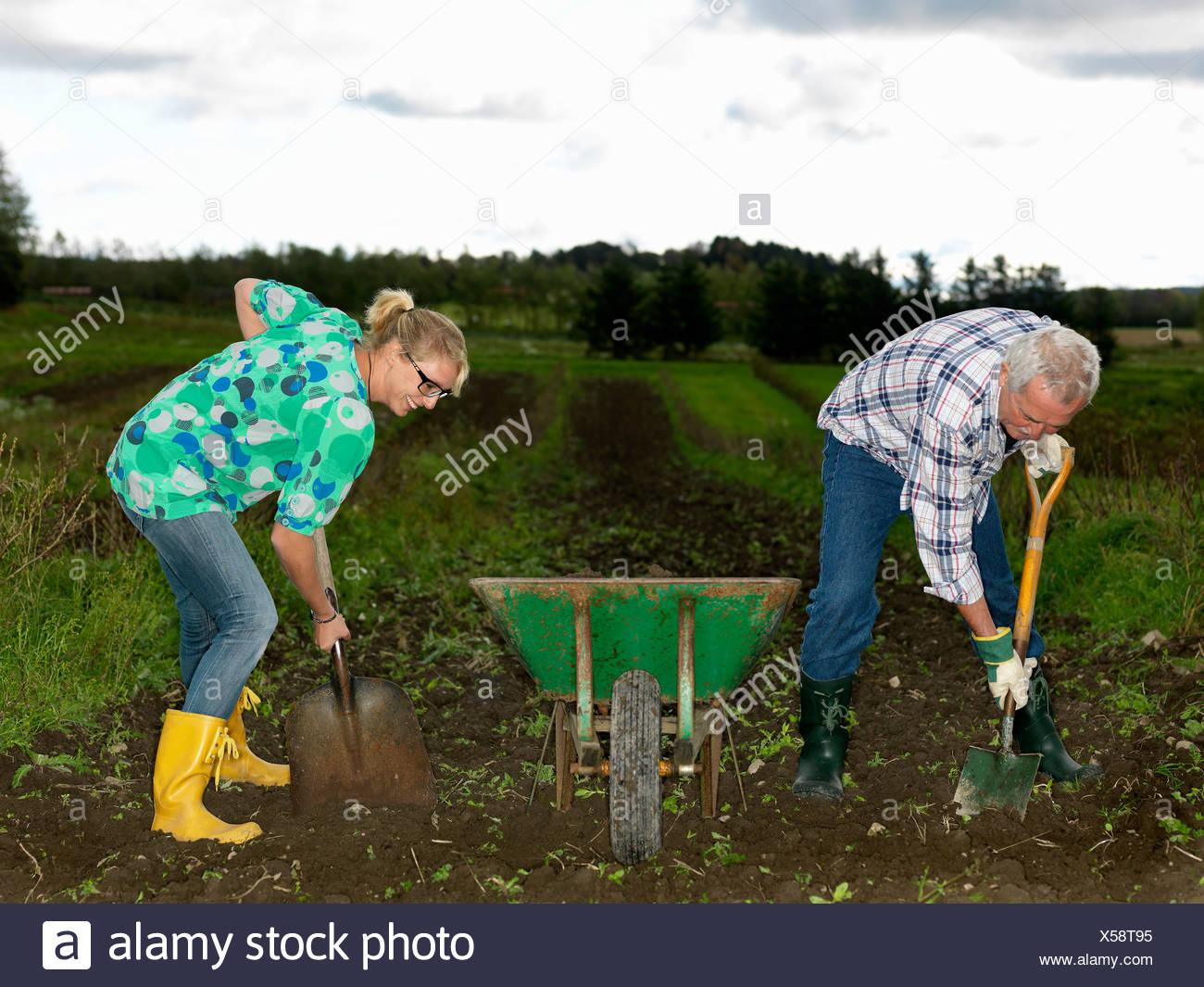 Man and woman shoveling dirt Stock Photo
