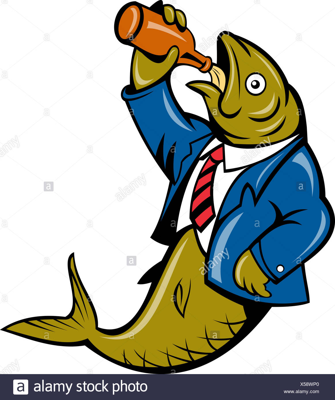 Herring Fish Business Suit Drinking Beer Bottle Stock Photo