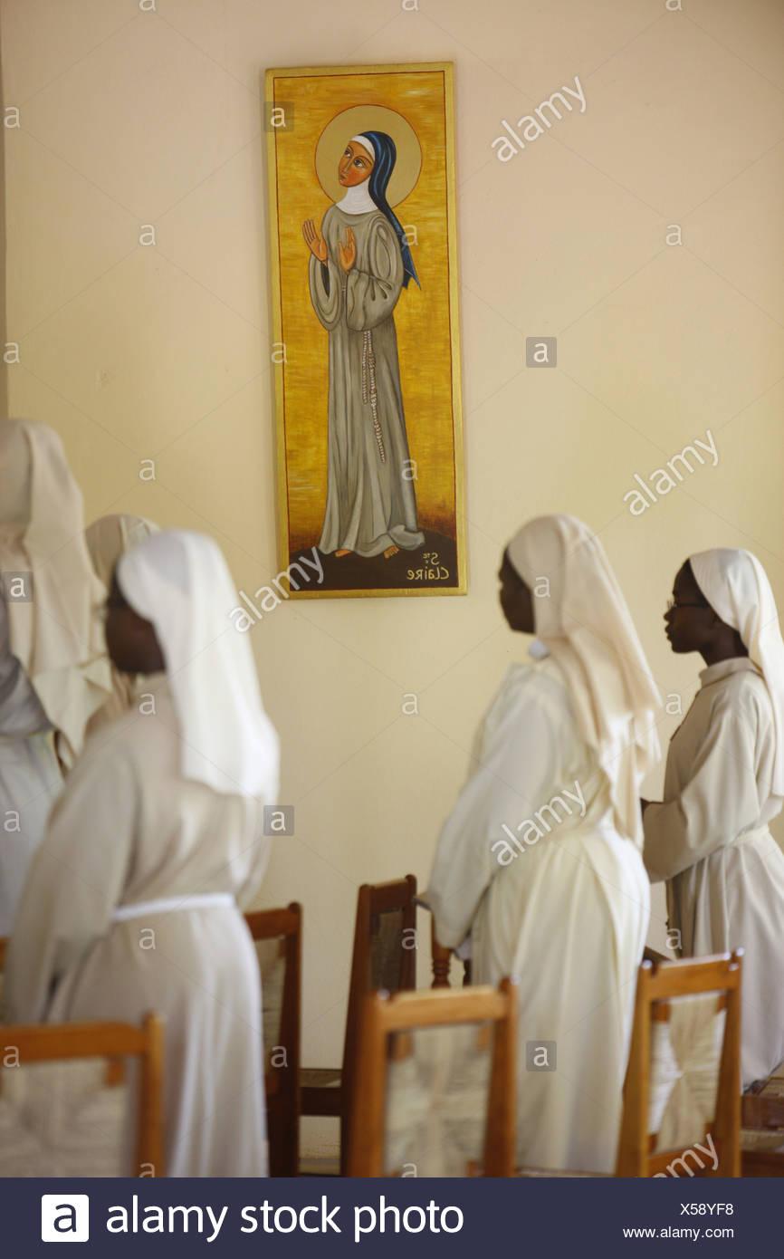 Togo, Akepe, Mass in Aképé catholic monastery Stock Photo: 278636380