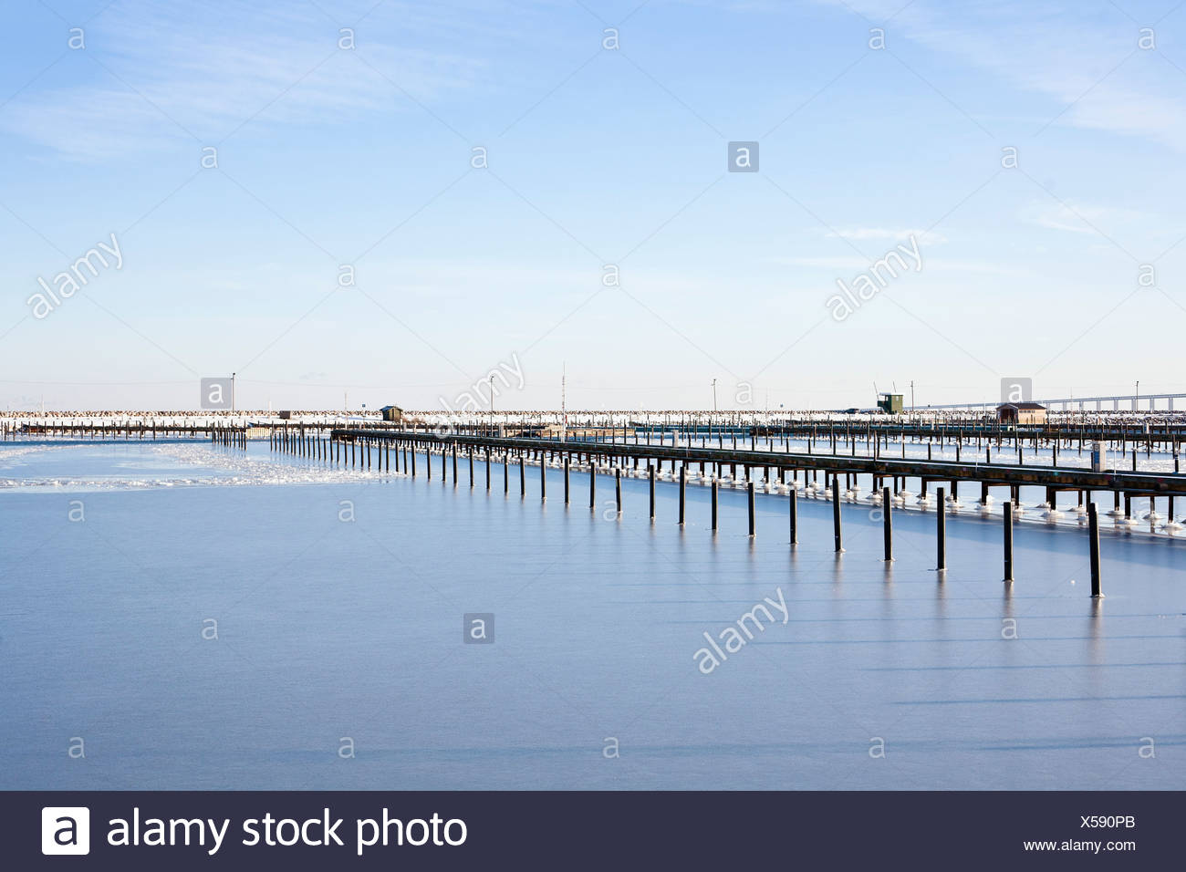 Beautiful view of harbor in the winter - Stock Image