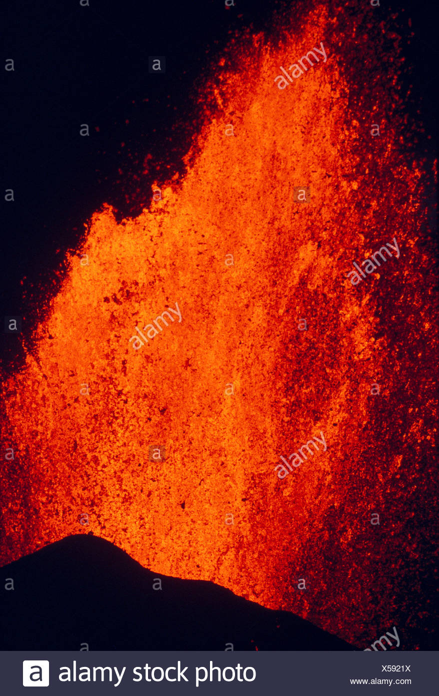 Hawaii, Big Island, Close-Up Of Fountaining Kilauea Volcano Eruption A26F - Stock Image