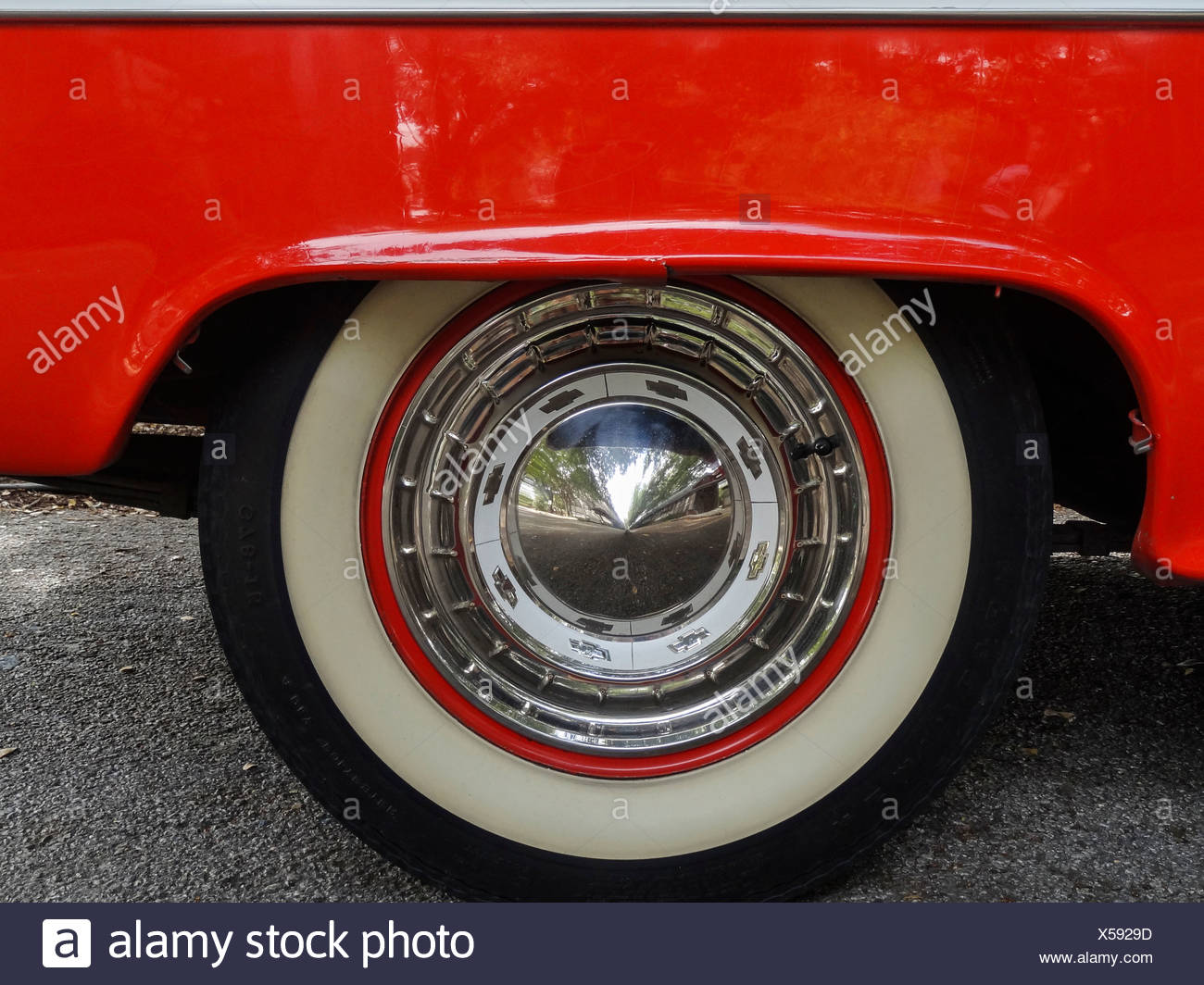 1955, Classic car, Chevrolet, Bel Air, General Motors, New Braunfels, old, car, red, white, Texas, USA, United States, America, - Stock Image