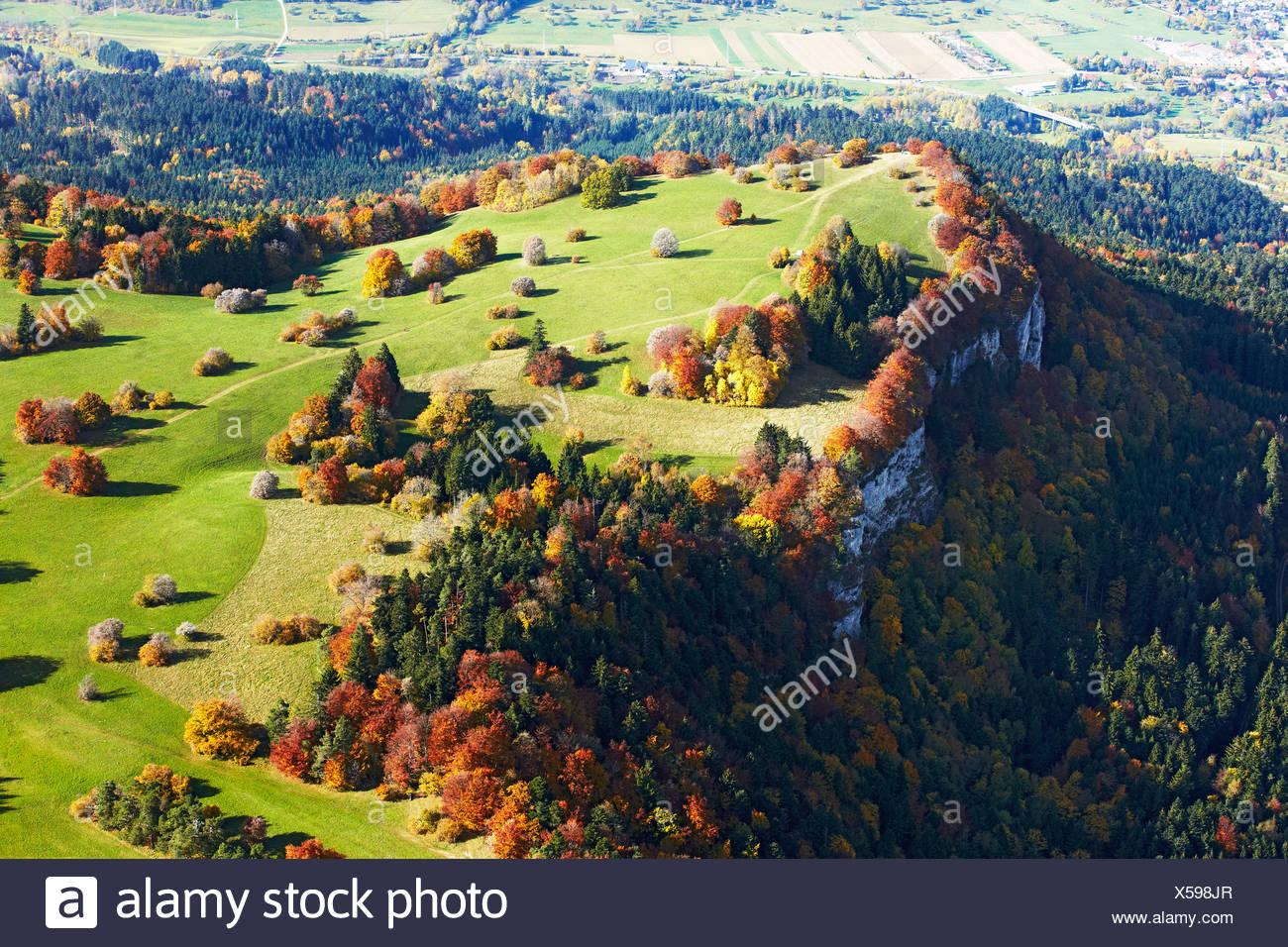 Escarpment of the Swabian Jura, Baden-Wuerttemberg, Germany, aerial photo - Stock Image