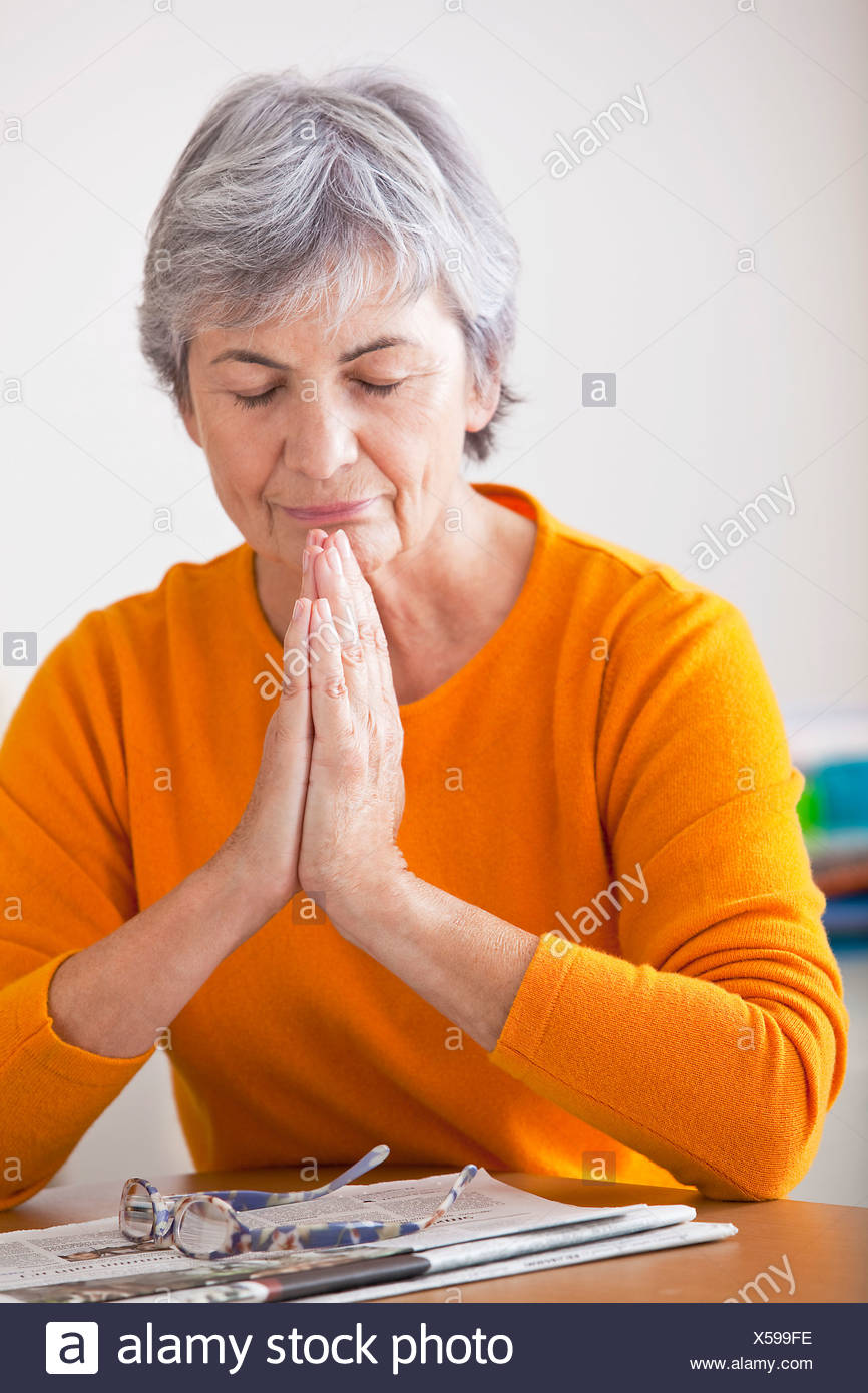 ELDERLY PERSON RESTING - Stock Image