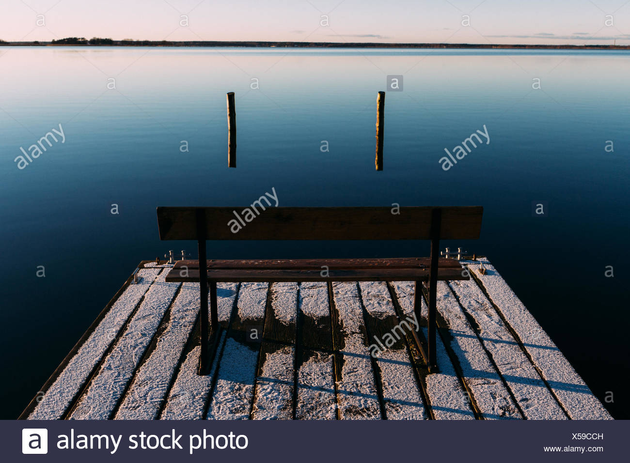 Empty Bench On Pier - Stock Image