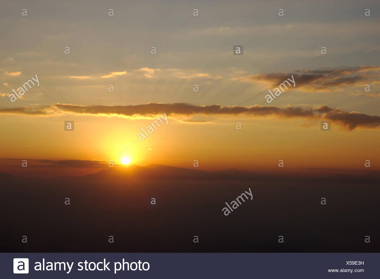 sunset in Himalaya, Nepal, Nagarkot - Stock Image