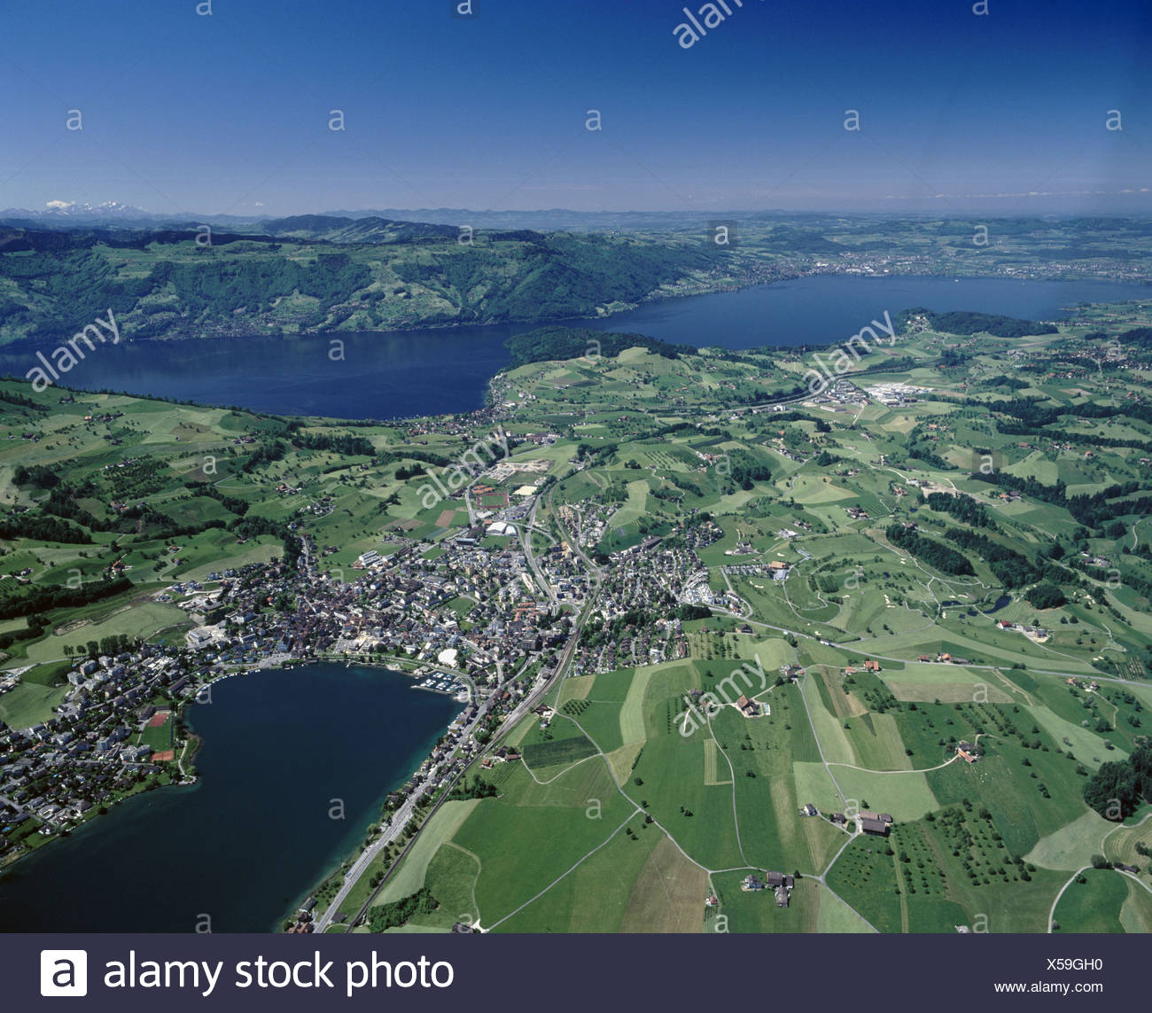 line of sight Zurich cartographic Kussnacht am Rigi aerial photo aerial view scenery Switzerland Europe Swi - Stock Image