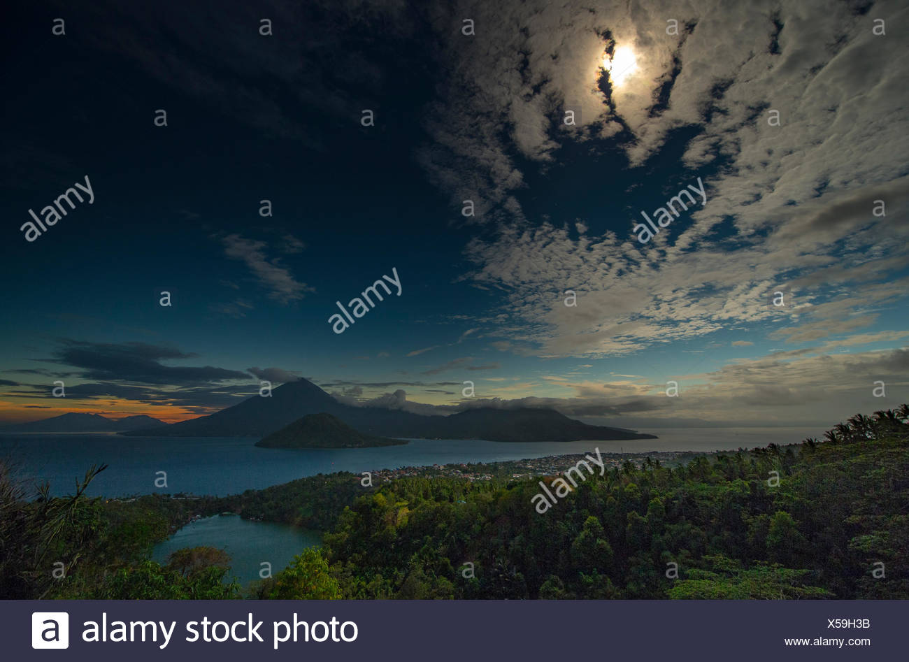 A rainforest seconds before a total solar eclipse. - Stock Image
