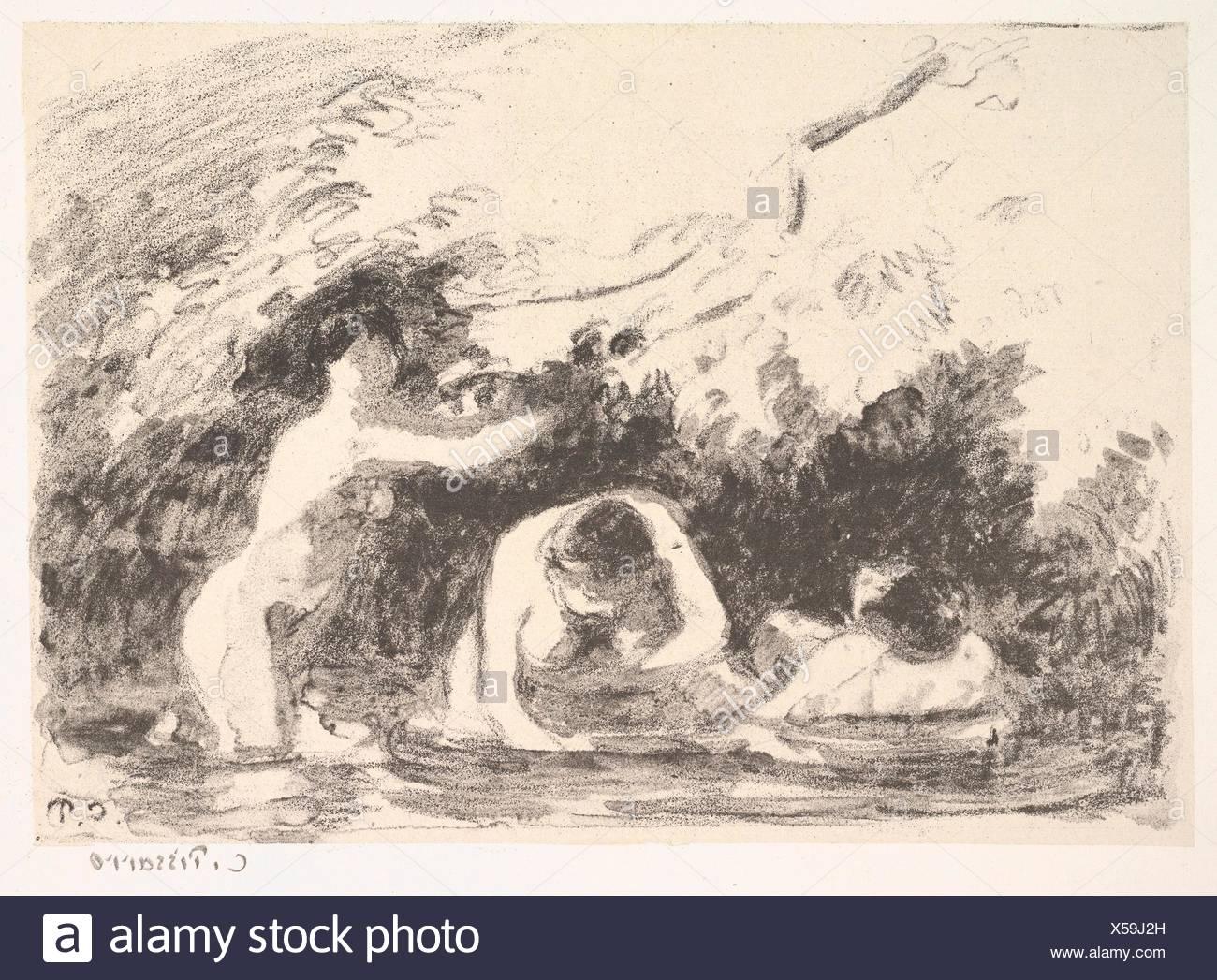 Bathers in the Shade of Wooded Banks (Baigneuses à L´Ombre des Berges Boisées). Series/Portfolio: L´Estampe originale, Album IX; Artist: Camille Stock Photo