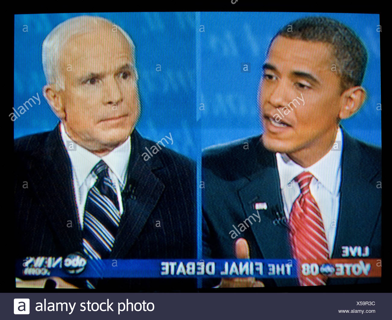 Presidential Candidates John McCain and Barack Obama during the final debate of the 2008 presidential election. - Stock Image