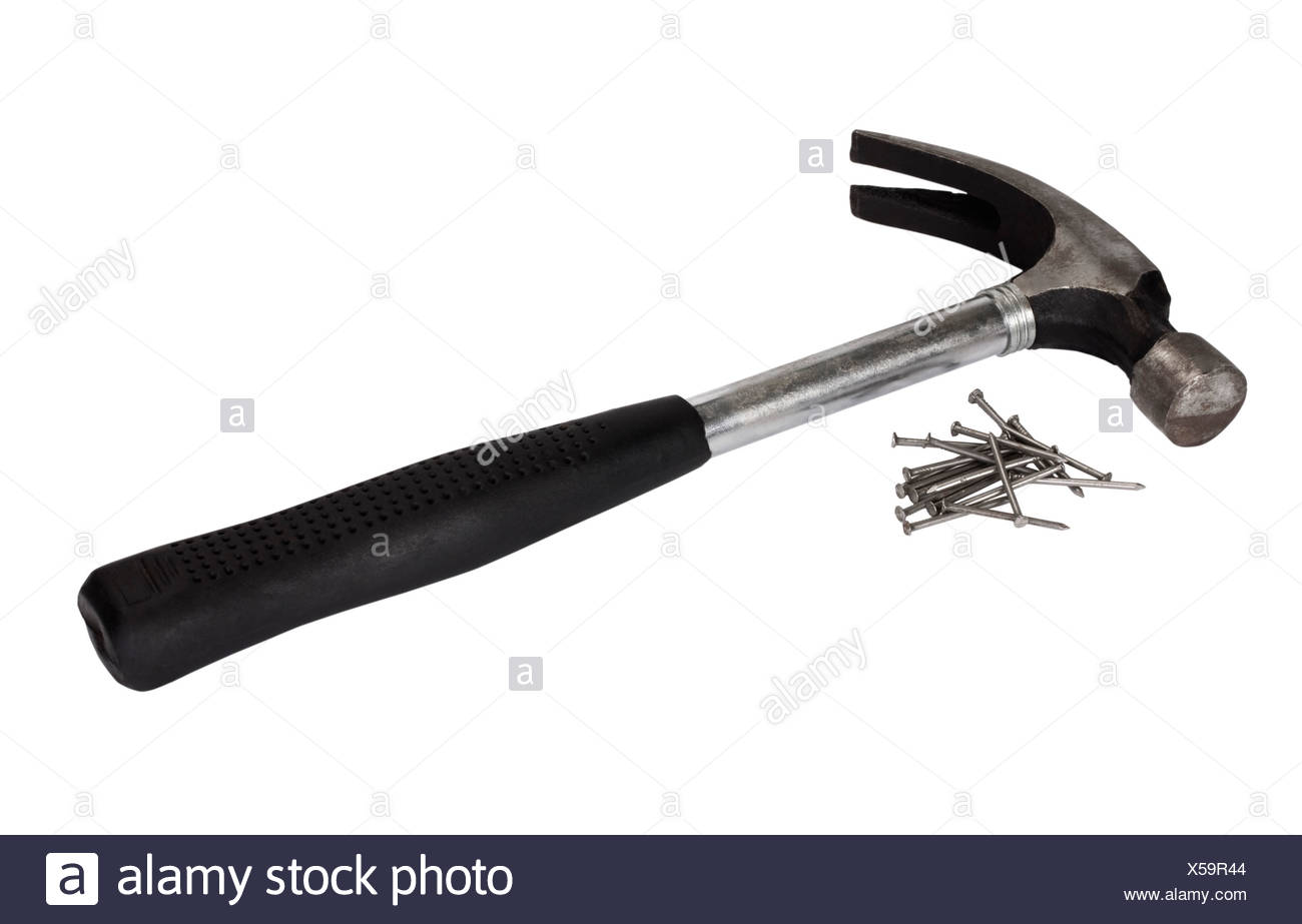 Claw hammer with nails - Stock Image