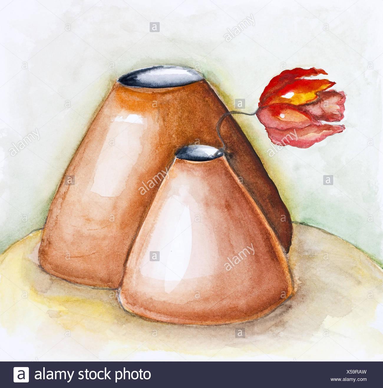 Gentle clay pots - Stock Image