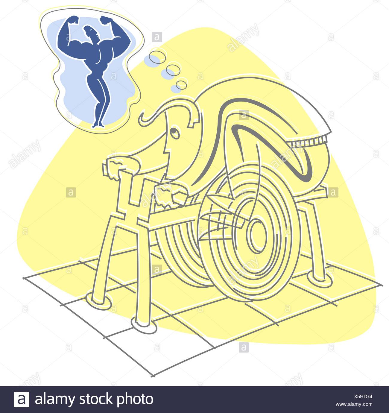 Man using home exerciser - Stock Image