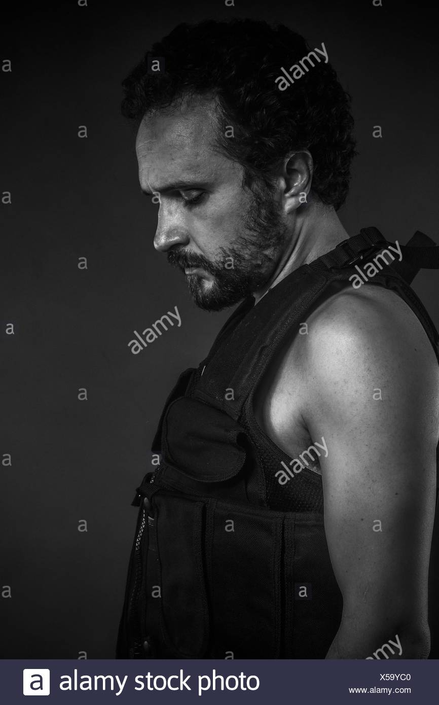 Radiation, nuclear disaster, man with gas mask, protection - Stock Image