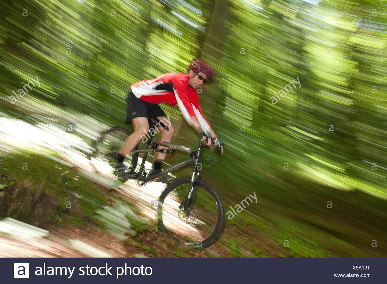 Switzerland Europe canton JU Jura mountain bike bike wheel bicycle bicycle bicycles riding a bicycle wood forest man wood - Stock Image