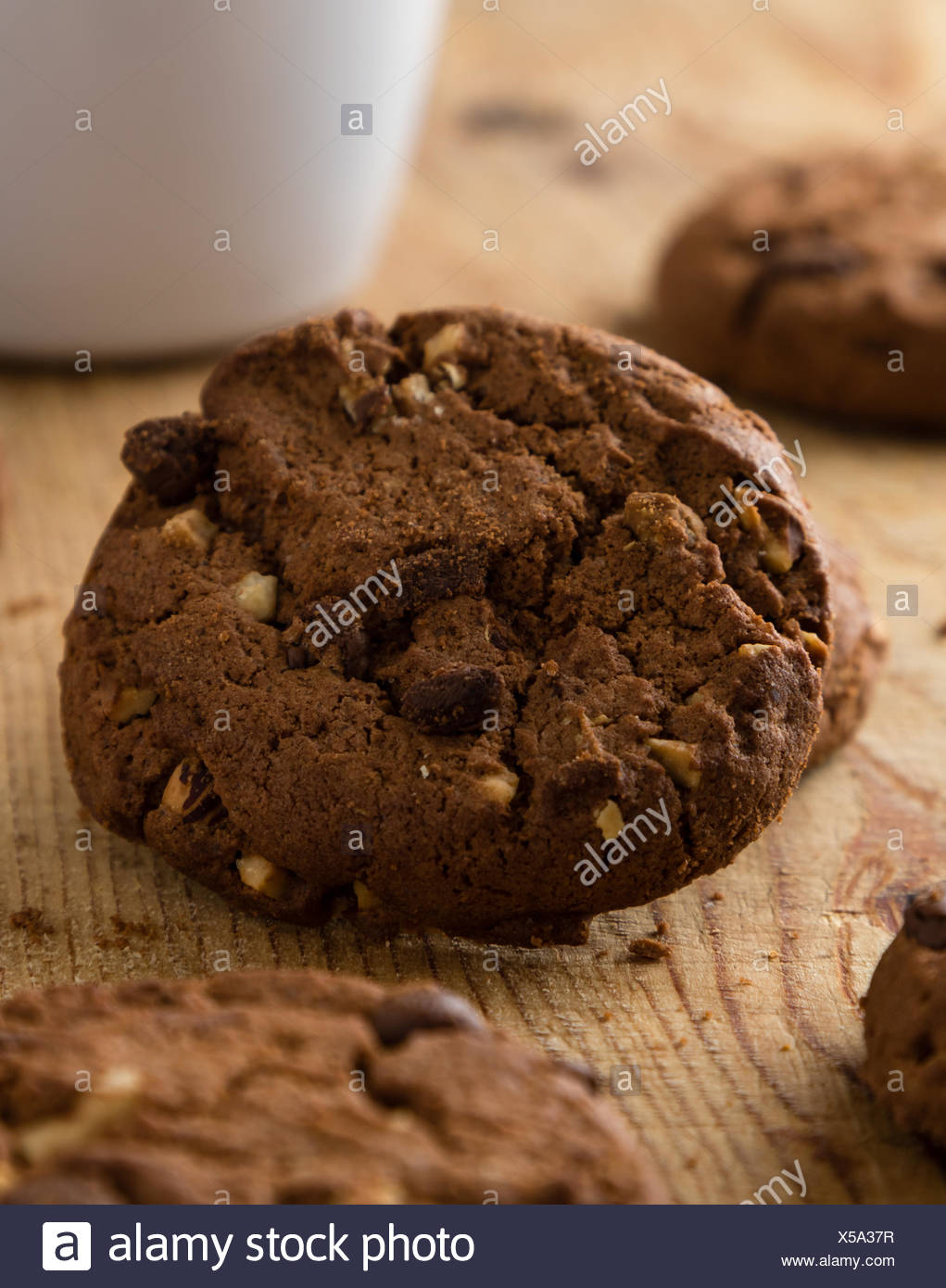 chocolate biscuit cookies - Stock Image