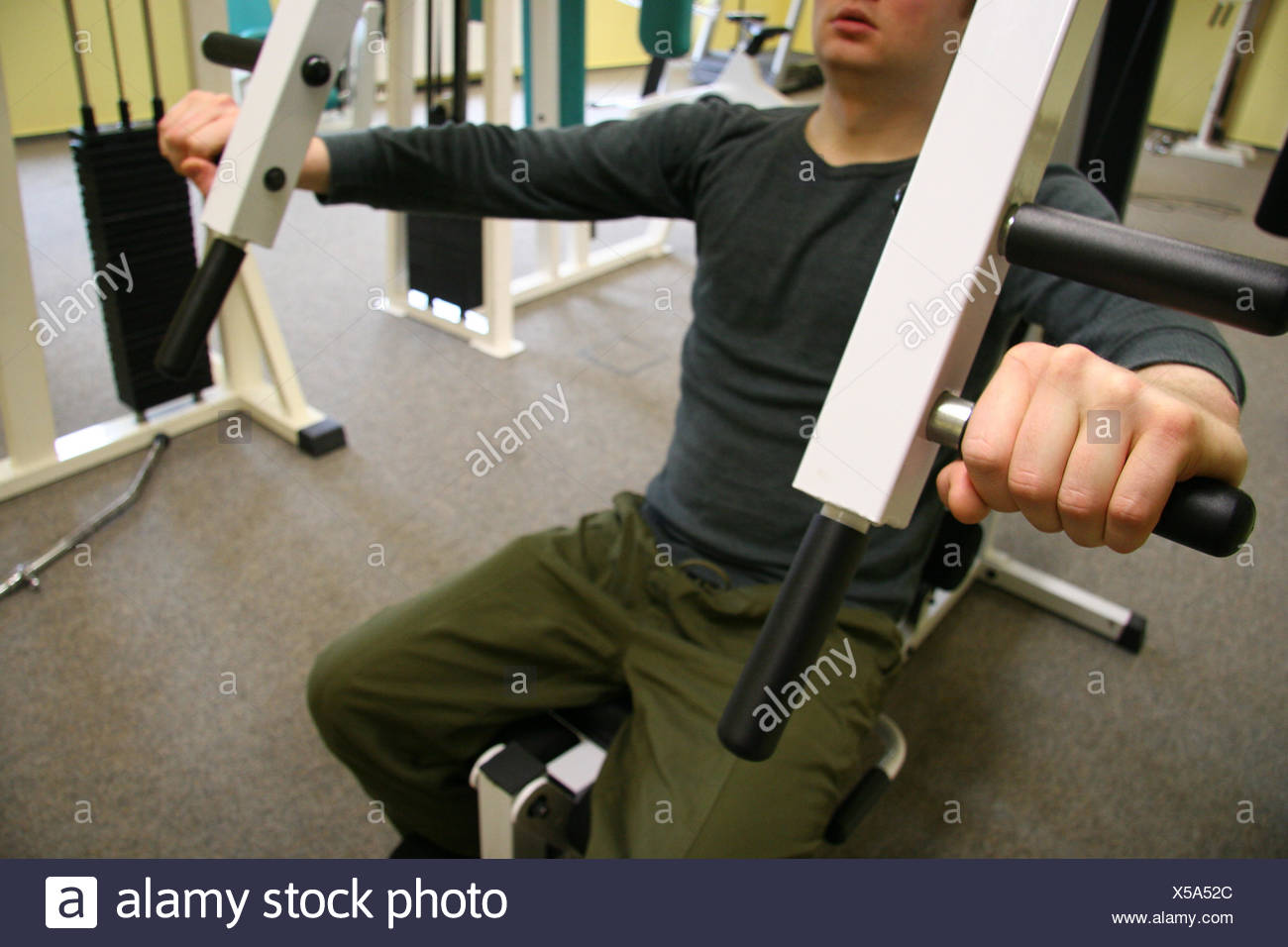 sport sports strong muscles sporty athletic wiry pithy heavyset tight sporting - Stock Image