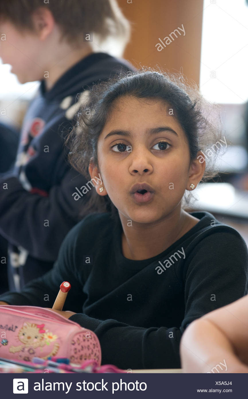 Tuttlingen, Germany, a girl in the third grade classes - Stock Image
