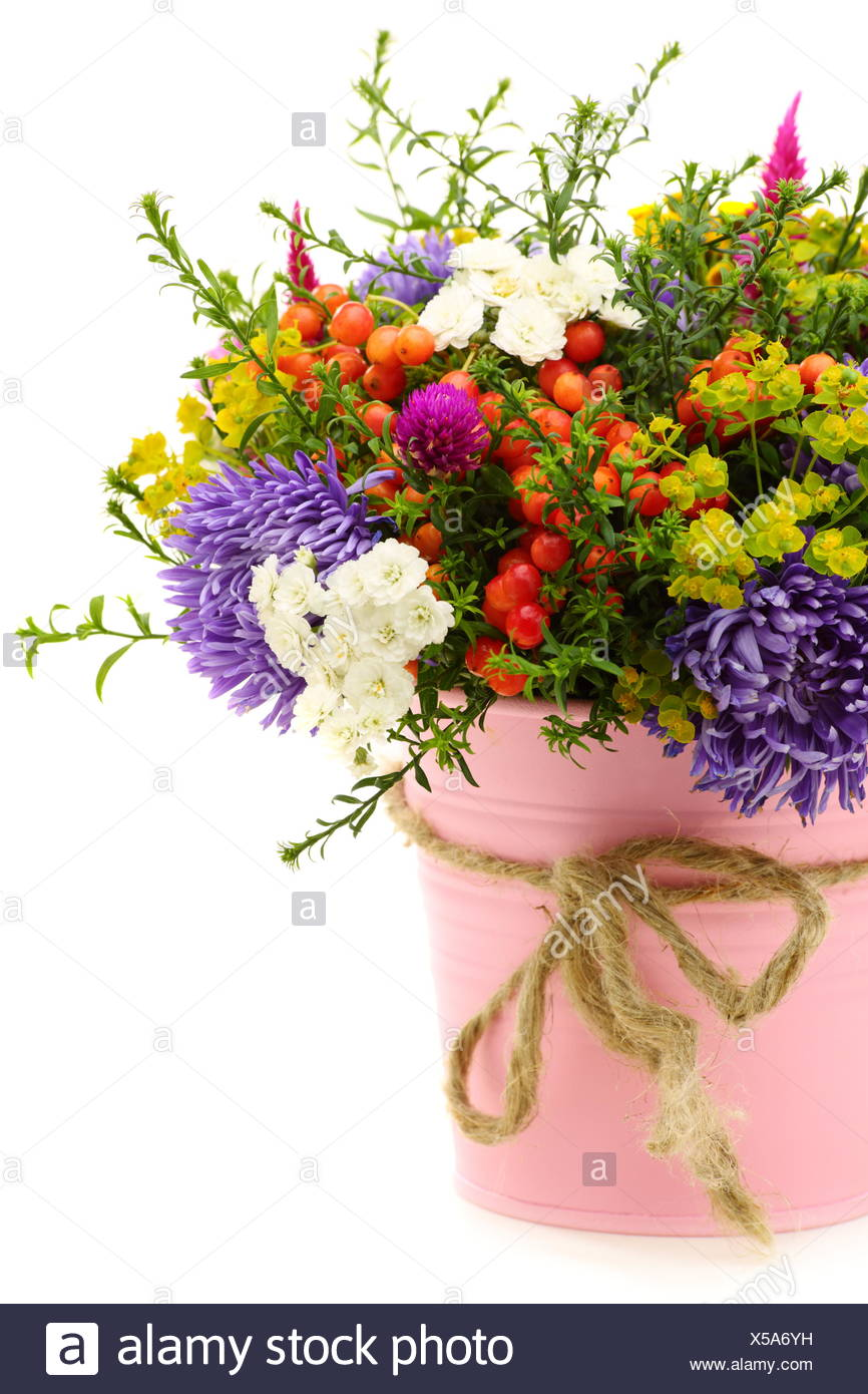 Bouquet Of Flowers And Fruit In Pink Bucket Stock Photo Alamy