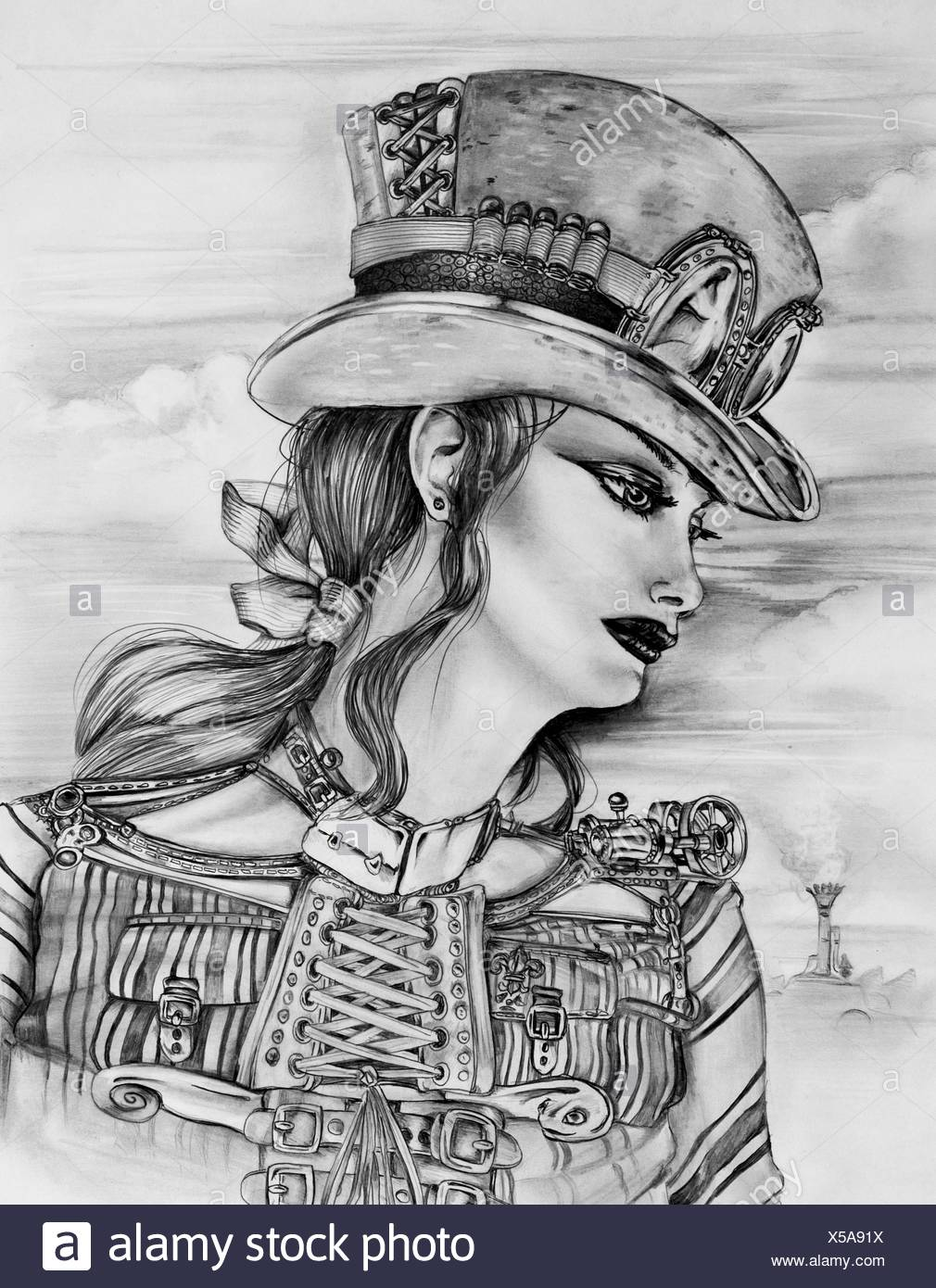 Original pencil sketch drawn by myself of a steampunk woman in a customized top hat