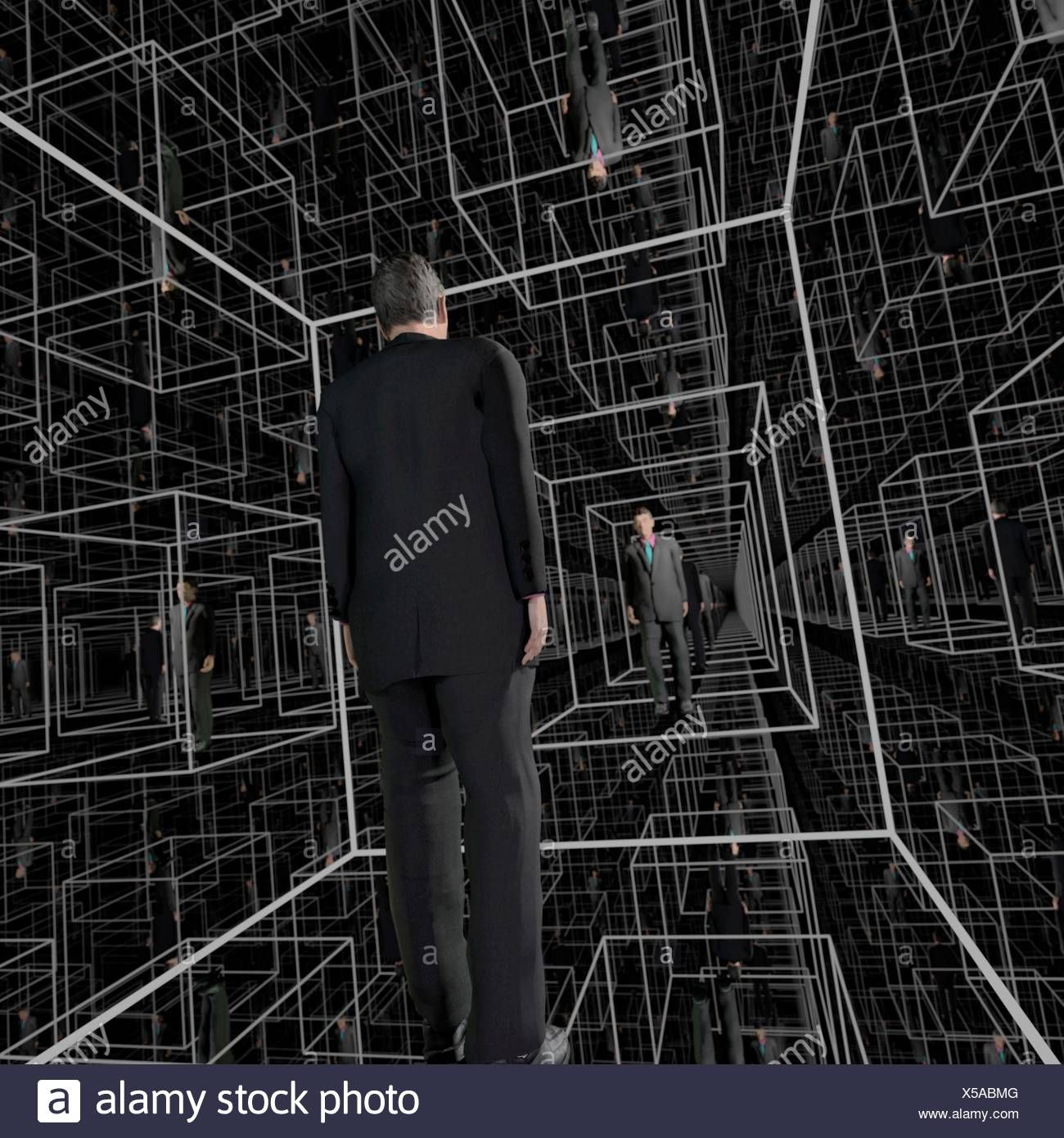 Identical men in a matrix-like structure of cubicles, seeming to be endless. Full CGI (including human figures) - Stock Image