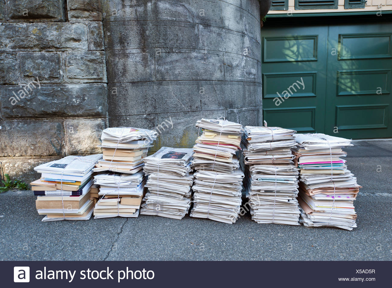 Bundled paper for recycling, Zurich, Switzerland, Europe - Stock Image