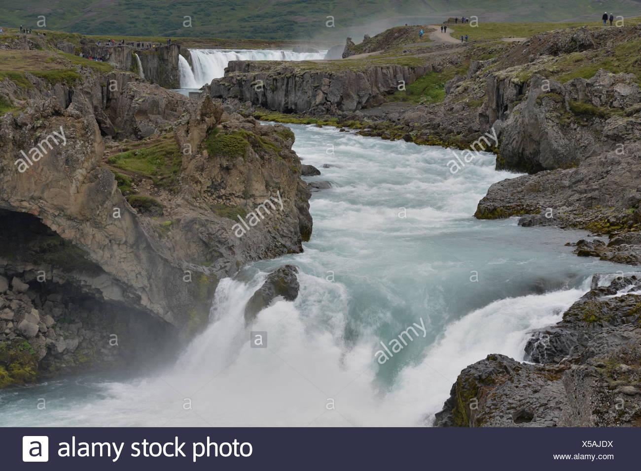 godafoss, island, wasserfall, fluss, kaskade, kaskaden, bach, bergbach, wildbach, natur, landschaft, gewaltig, Goðafoss, Götterwasserfall - Stock Image