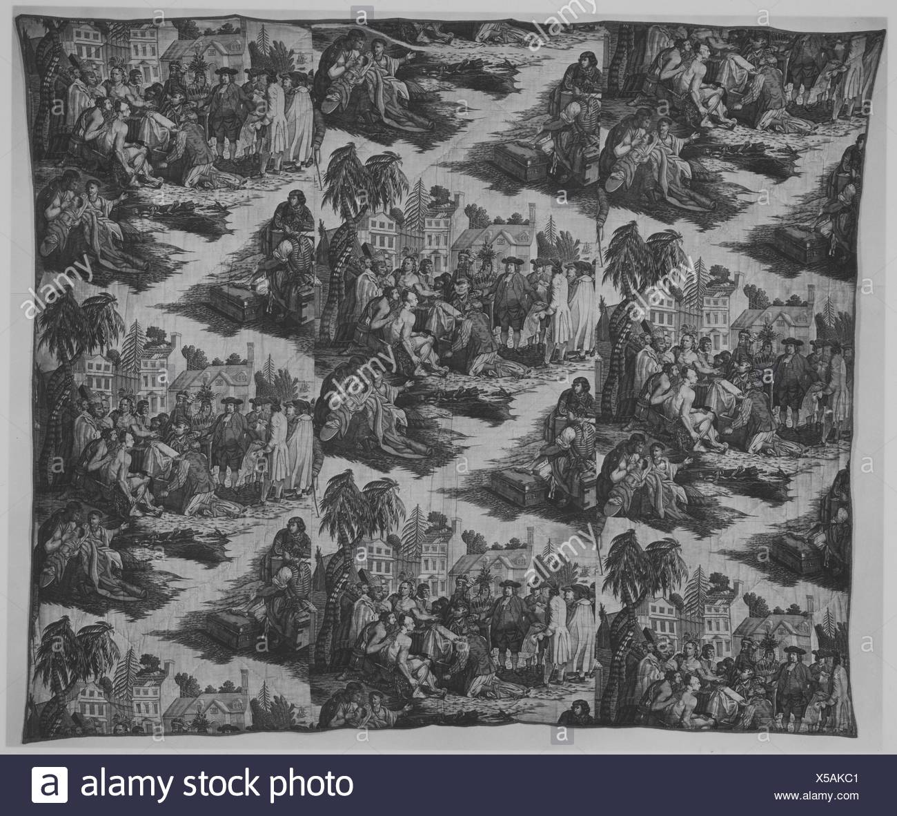 Quilt. Date: ca. 1788; Culture: British; Medium: Cotton; Dimensions: L. 84 x W. 70 inches (213.4 x 177.8 cm); Classification: Textiles-Printed; - Stock Image