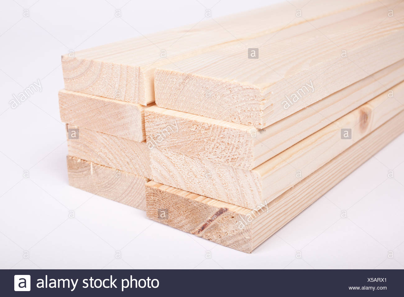 timber spruce with a chamfer or bevelled edge - Stock Image