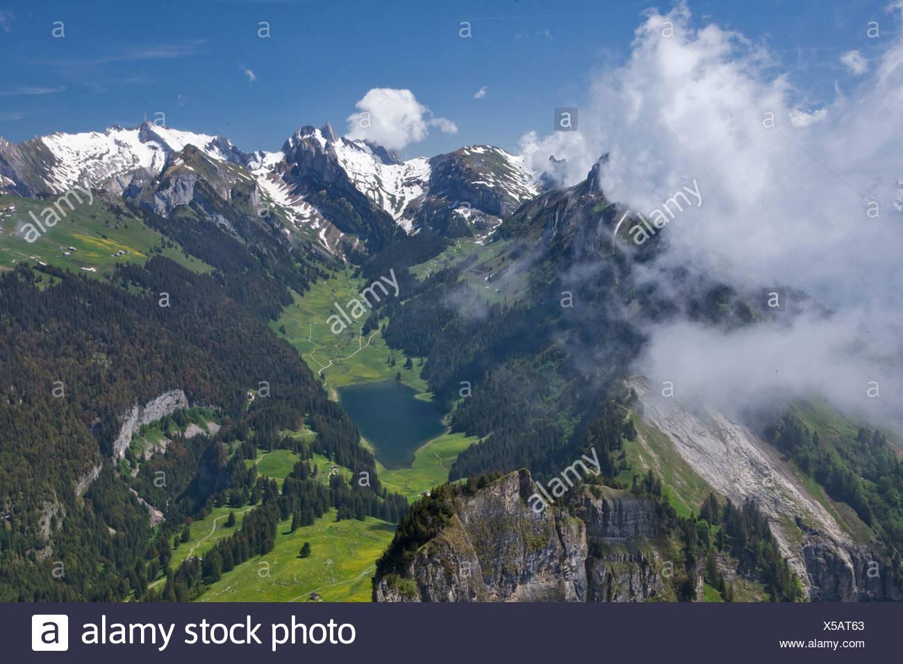 To high castes, box, Alpstein, mountain, mountains, canton, Appenzell, Innerroden, Appenzell area, Alpstein, Säntis, weather, la - Stock Image