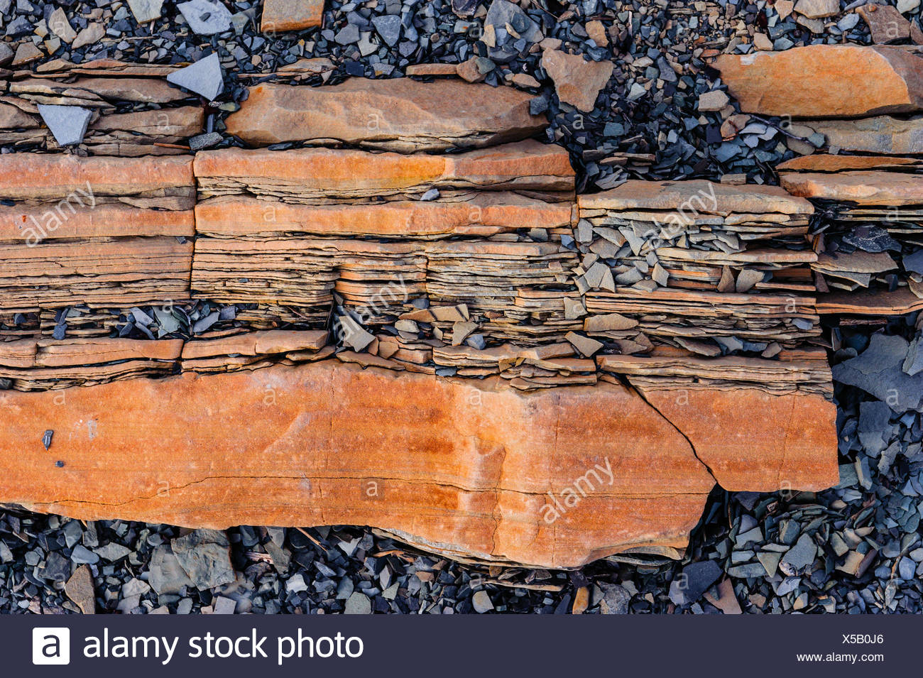 Oxidized shale at Green Point site the global stratotype for the Cambrian Ordovician geologic boundary. Gros Morne National - Stock Image