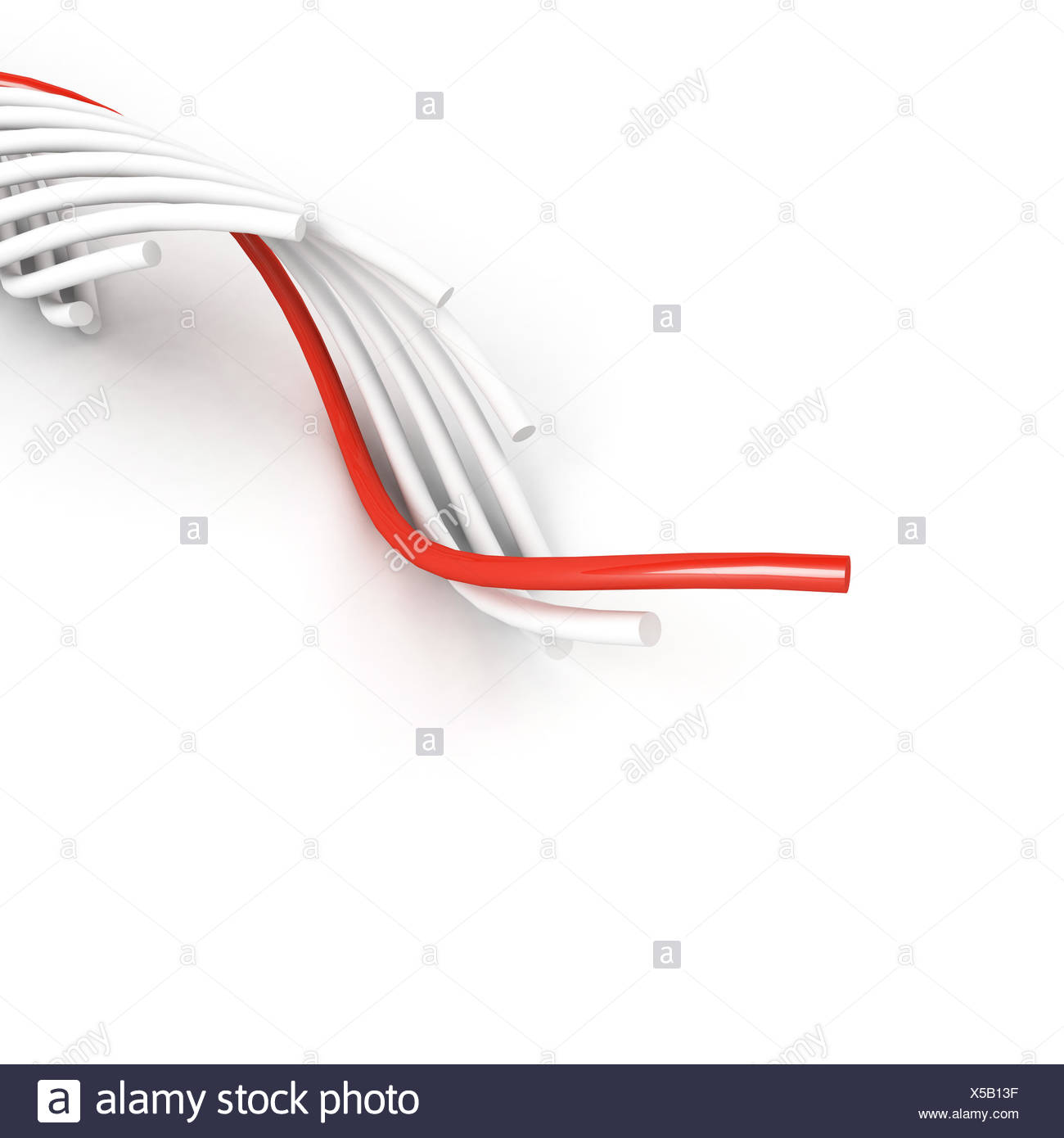 leading cable over white - Stock Image