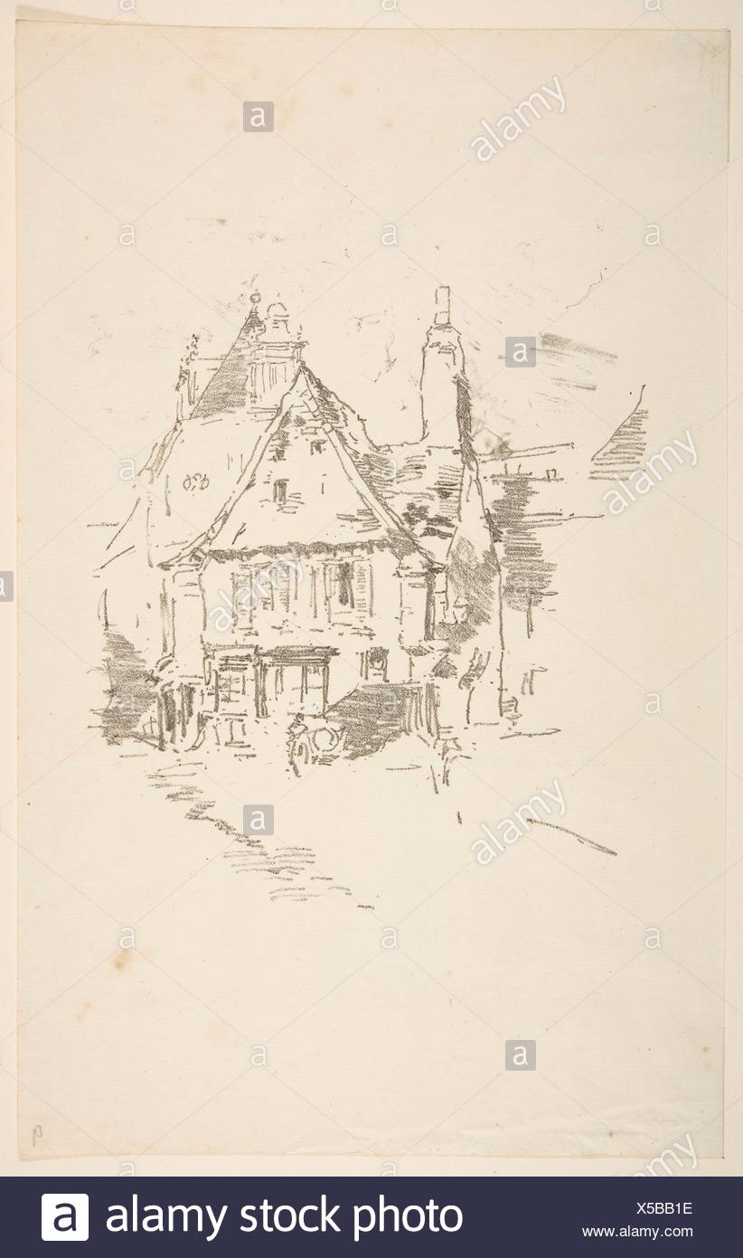 Gabled Roofs, Vitré. Artist: James McNeill Whistler (American, Lowell, Massachusetts 1834-1903 London); Date: 1893; Medium: Transfer lithograph with - Stock Image