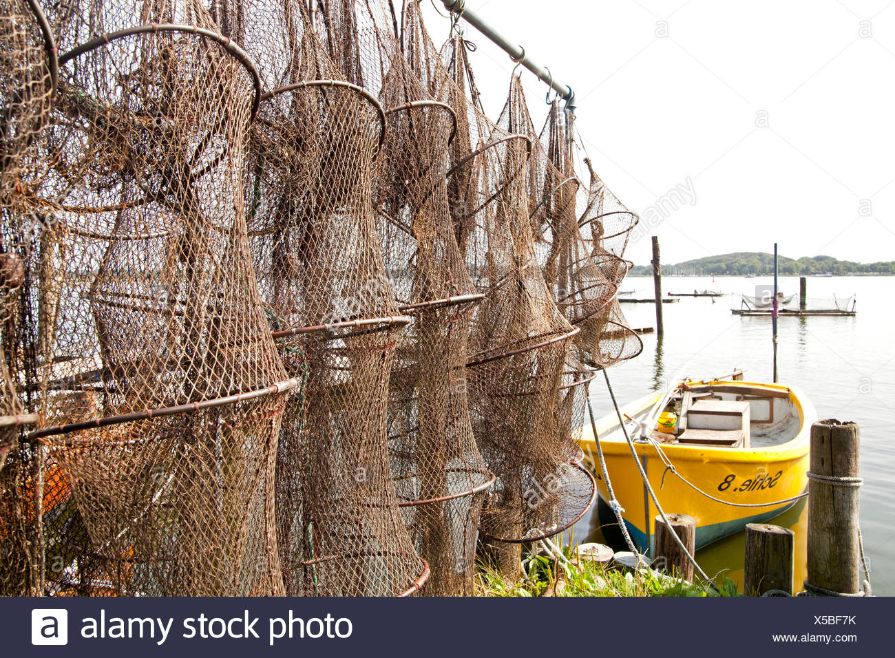 Traps and nets in the Holm fishing quarter of Schleswig, Schleswig-Holstein - Stock Image