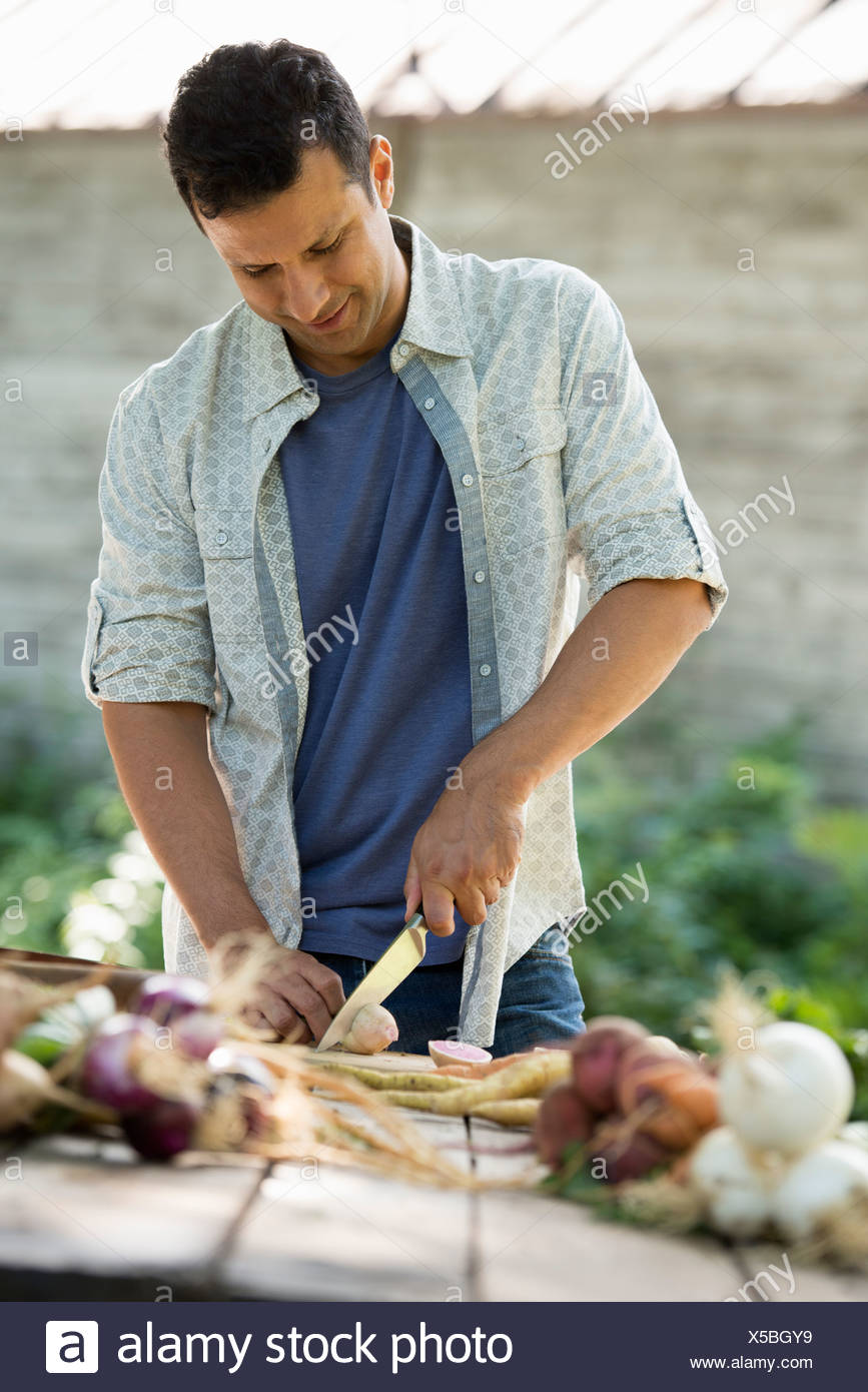 Sorting and chopping freshly picked vegetables and fruits. A man using a sharp knife. - Stock Image