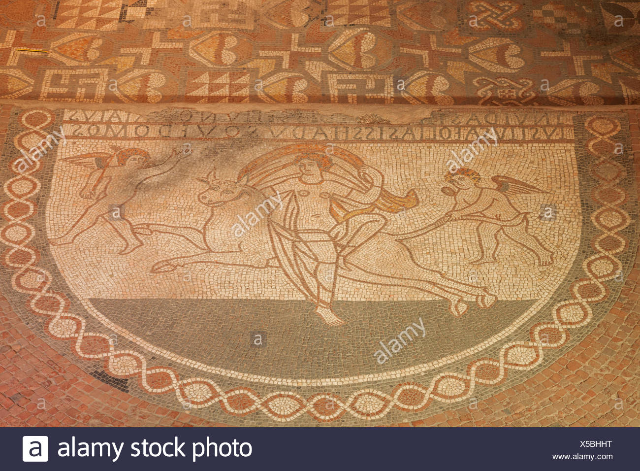 England, Kent, Lullingstone Roman Villa, Detail of Mosaic Flooring Showing The Roman God Jupiter Abducting Princess Europa while Disguised as a Bull - Stock Image