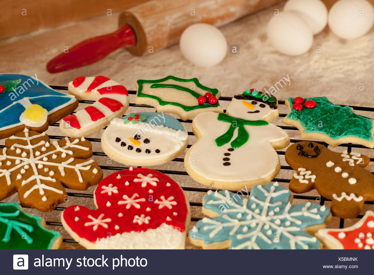 Closeup Of A Variety Of Homemade Christmas Sugar Cookies With Eggs