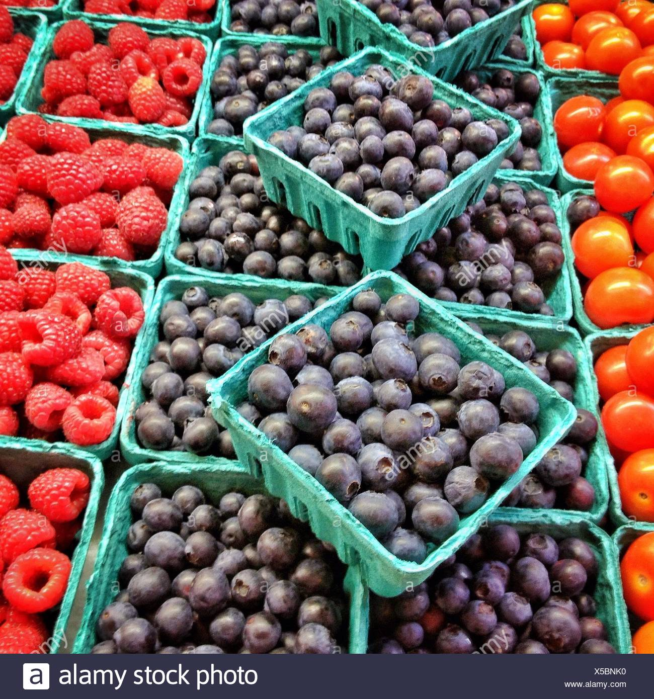 Fruit and vegetables in market - Stock Image