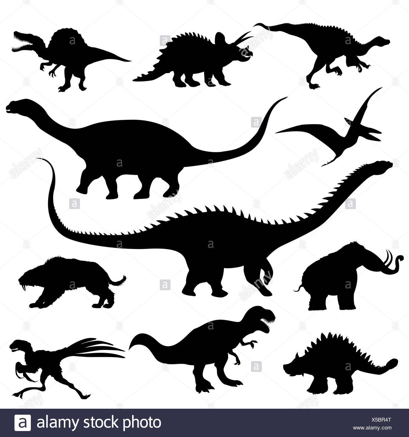 Dinosaur silhouettes collection - Stock Image